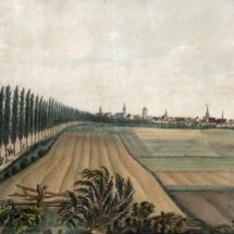 Connewitzer Chaussee, im Hintergrund Stadtsilhouette von Leipzig, Aquarell, um 1830