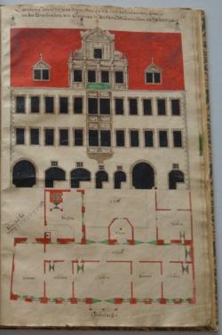 Webers Hof, aus dem Skizzenbuch des Baumeisters Christian Richter, um 1660