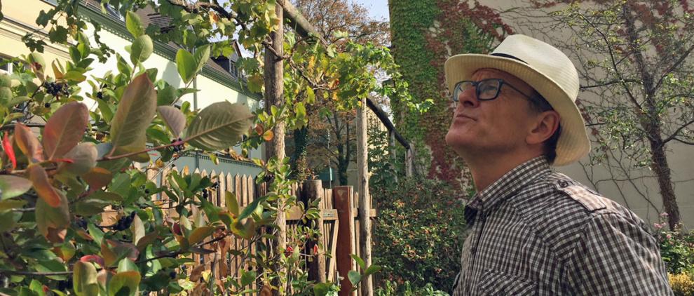 Der Fachmann begutachtet die Weinstöcke im Garten des Schillerhauses