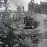 Bauarbeiten am Elsterstausee, Baulos I, Durchstich Absetzbecken, 1934