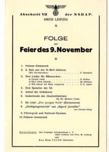 Programmzettel zur Feier des 9. November im großen Saal des Leipziger Zoos, A/2018/62