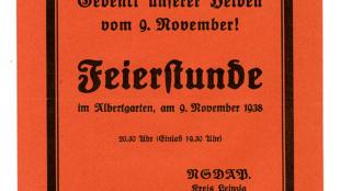Einladung der NSDAP Ortsgruppe Osten A zu einer Feierstunde im Albertgarten am 9.November 1938, A/2018/54.