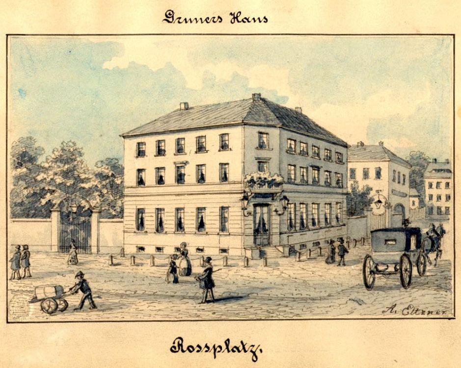Gruners Haus am Rossplatz, um 1860
