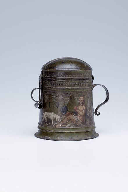 Sammelbüchse, 1652, Blech, bemalt