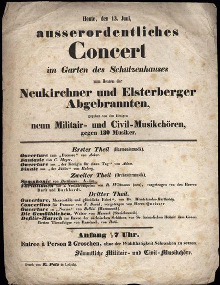 Programm eines Benefizkonzerts, Schützenhaus Leipzig, 13. Mai 1840